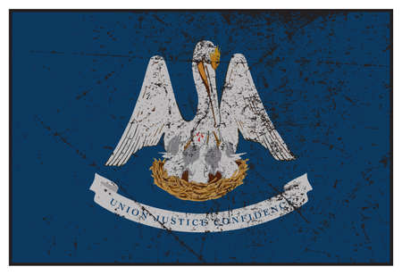 represent: A grunged Louisiana state flag isolated on a white background Illustration