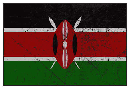 grunged: A grunged Kenya flag isolated on a white background