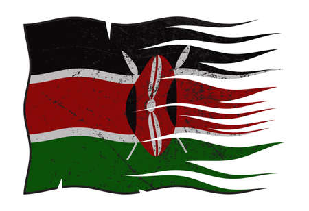 grunged: A wavy and grunged Kenya flag isolated on a white background