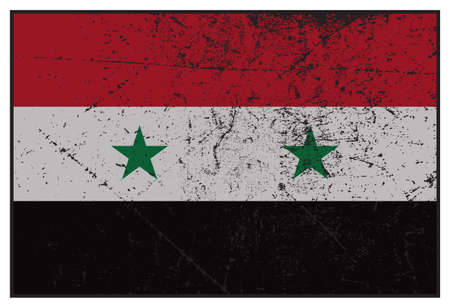 A grunged Syria flag isolated on a white background