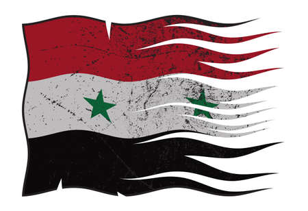 A wavy and grunged Syria flag isolated on a white background Illustration