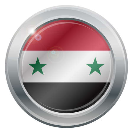 space wars: A Syria flag silver icon isolated on a white background