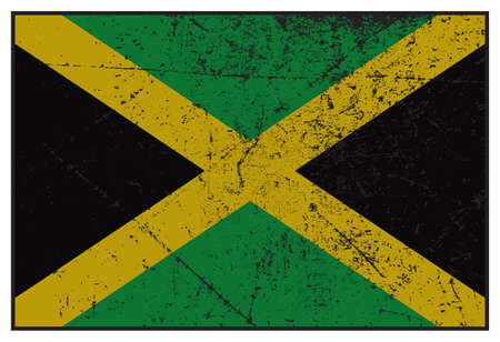 grunged: A grunged Jamaica flag isolated on a white background Illustration