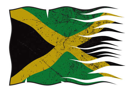 grunged: A wavy and grunged Jamaica flag isolated on a white background Illustration