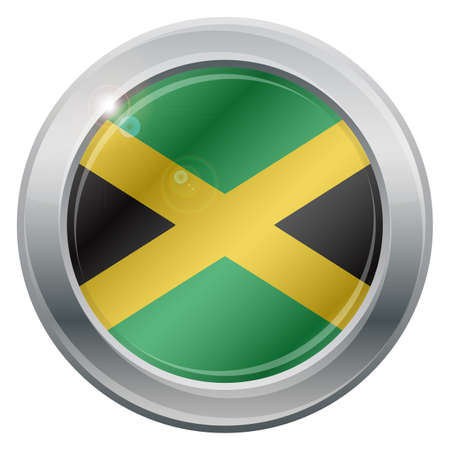 carribean: A Jamaica flag silver icon isolated on a white background