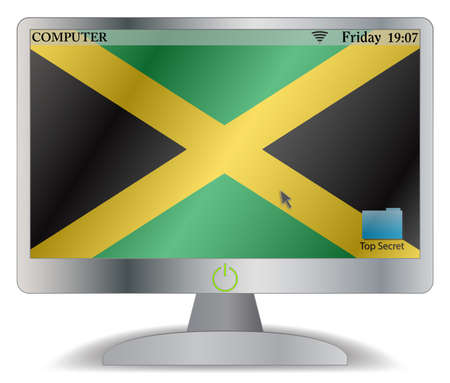 carribean: A Jamaica computer screen with an on button isolated on a white background Illustration