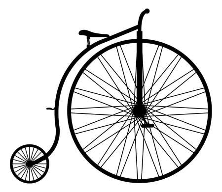penny: A penny farthing silhouette isolated on a white background