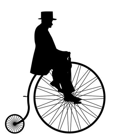 A gentleman in a top hat riding a penny farthing silhouette isolated on a white background  イラスト・ベクター素材