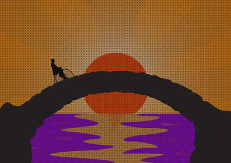 ocean sunset: A retro picture of a gentleman riding a penny farthing on a stone bridge with an ocean sunset background