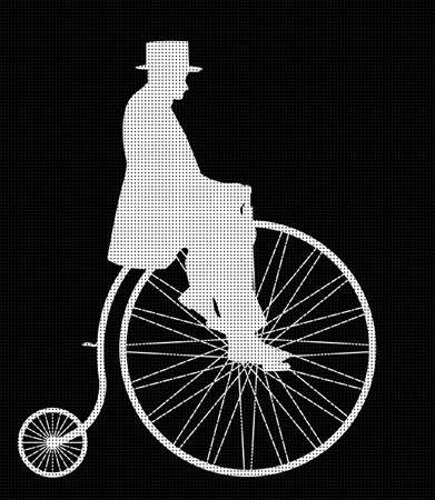 penny: A retro penny farthing gentleman silhouette isolated on a black background