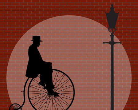 penny: A gentleman riding a penny farthing shadow on a Brick Wall With Spotlight Background