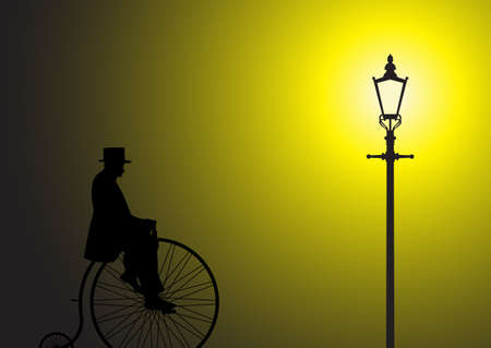 A silhouette of a gentleman on a penny farthing in the light of a street lamp Illustration