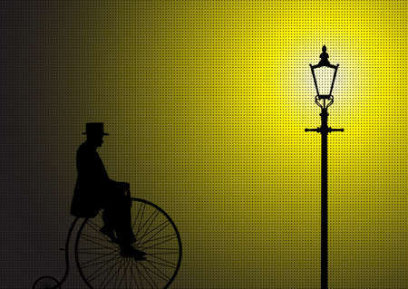 penny: A silhouette of a gentleman on a penny farthing in the light of a street lamp Illustration
