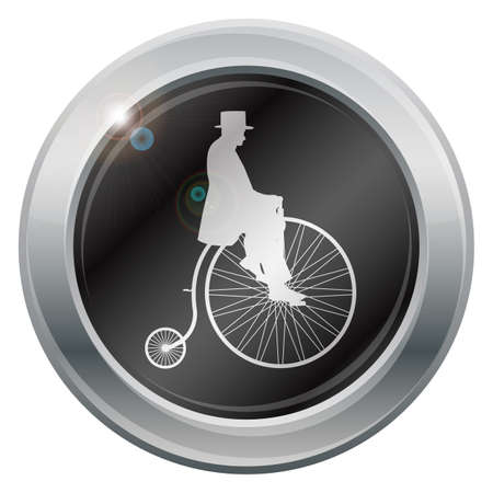 penny: A gentleman on a penny farthing silver icon isolated on a white background