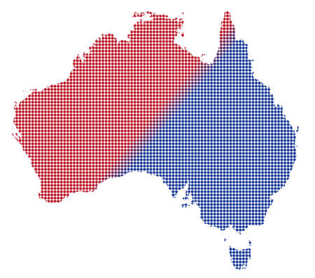australasia: An Australia dot map in blue And red isolated on a white background