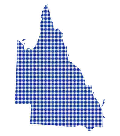 queensland: A Queensland Australia dot map in blue isolated on a white background