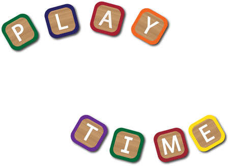play time: Kids blocks spelling play time isolated on a white background