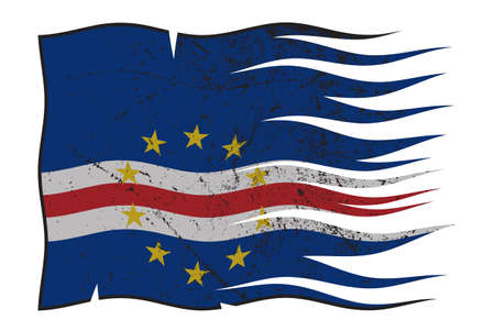 grunged: A wavy and grunged Cape Verde flag isolated on a white background