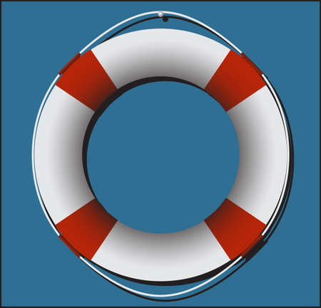 buoyant: A life ring on blue square background