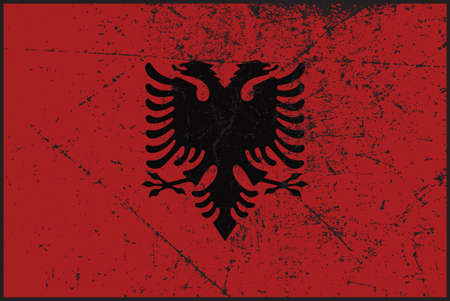 grunged: A grunged Albania flag design Illustration