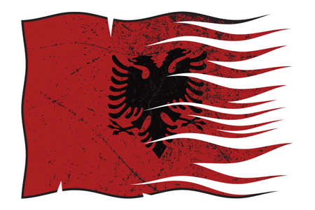 grunged: A wavy and grunged Albania flag isolated on a white background