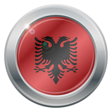 advise: An Albania flag silver icon isolated on a white background