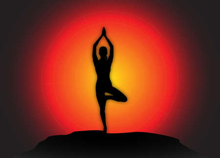flexible woman: A yoga woman silhouette performing tree pose on a dark colourful background