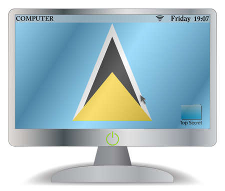 st lucia: A St. Lucia computer screen with an on button isolated on a white background