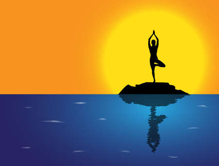flexible woman: A woman silhouette performing tree pose on a rock in the sea