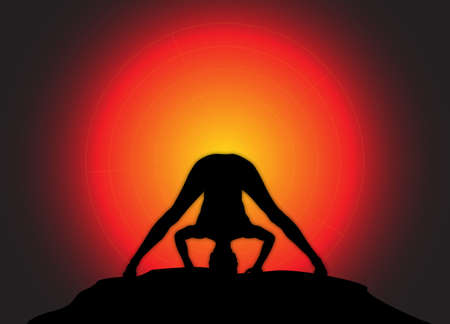 supple: A yoga woman silhouette performing wide leg forward fold pose on a dark colourful background