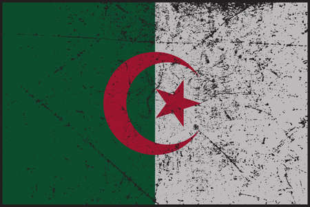 grunged: A grunged Algeria flag design Illustration