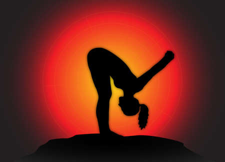 flexible woman: A yoga woman silhouette performing forward fold pose on a dark colourful background Illustration