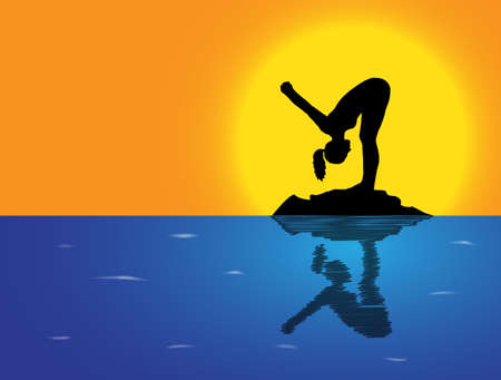 flexible woman: A woman silhouette performing forward fold pose on a rock in the sea Illustration