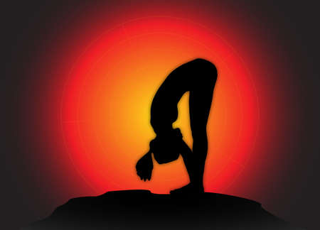 flexible woman: A yoga woman silhouette performing forward bend pose on a dark colourful background Illustration