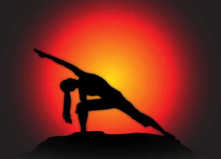 flexible woman: A yoga woman silhouette performing extended angle pose on a dark colourful background Illustration