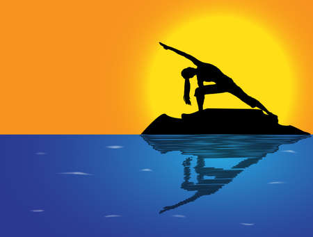 flexible woman: A woman silhouette performing extended angle pose on a rock in the sea