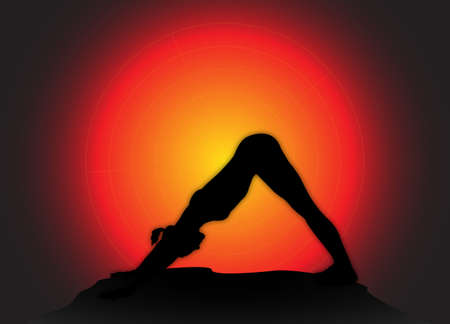 downward: A yoga woman silhouette performing downward dog pose on a dark colourful background