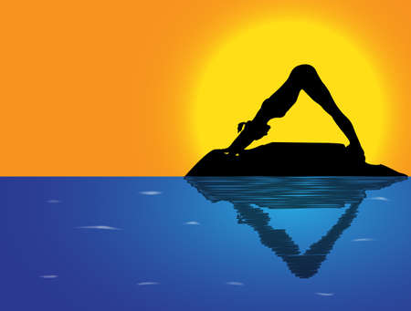 flexible woman: A woman silhouette performing downward dog pose on a rock in the sea Illustration
