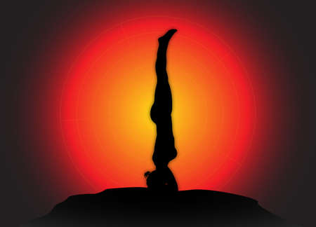 flexible woman: A yoga woman silhouette performing headstand pose on a dark colourful background Illustration