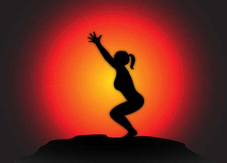 flexible woman: A yoga woman silhouette performing chair pose on a dark colourful background