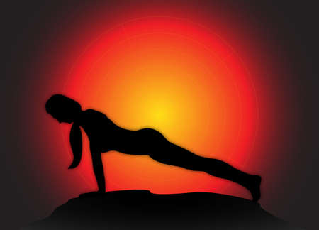 flexible woman: A yoga woman silhouette performing plank pose on a dark colourful background