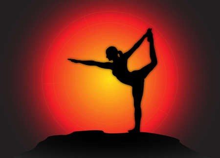 flexible woman: A yoga woman silhouette performing dancer pose on a dark colourful background