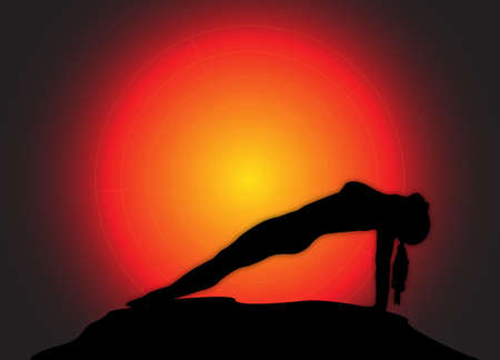 reverse: A yoga woman silhouette performing reverse plank pose on a dark colourful background Illustration