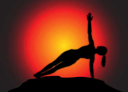 flexible woman: A yoga woman silhouette performing side plank pose on a dark colourful background