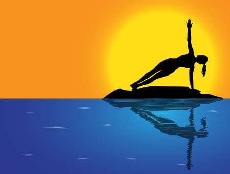plank: A woman silhouette performing side plank pose on a rock in the sea