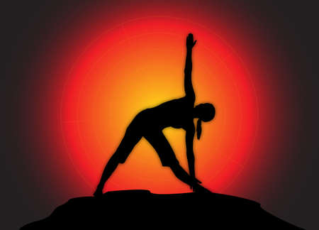 flexible woman: A yoga woman silhouette performing triangle pose on a dark colourful background Illustration