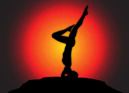flexible woman: A yoga woman silhouette performing a headstand on a dark colourful background Illustration