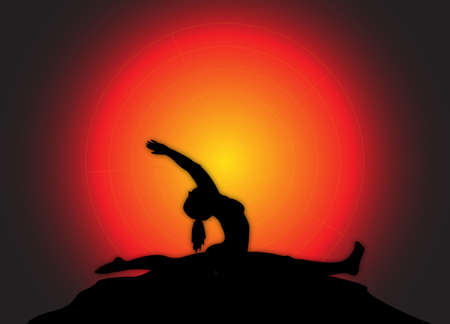 flexible woman: A yoga woman silhouette performing the splits on a dark colourful background