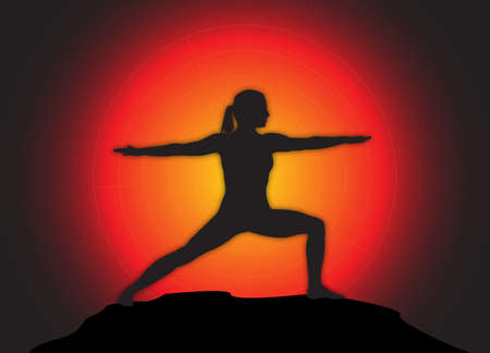 warrior pose: A yoga woman silhouette performing warrior pose on a dark colourful background