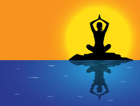 flexible woman: A woman silhouette performing a lotus pose on a rock in the sea Illustration